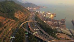 Widok z lotu ptaka Tsing Ma most Autostrady w Hong kong z struktur? zawieszenie architektura w transporcie i podr??y fotografia stock