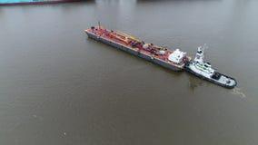Widok Z Lotu Ptaka Tugboat i Refueling barki Delaware Filadelfia Rzeczny PA zdjęcie wideo
