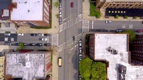 Widok z lotu ptaka ulicy i rozdroża w Brooklyn, Miasto Nowy Jork NYC od above USA zbiory