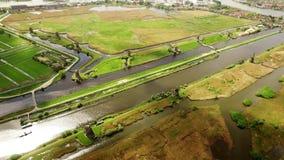 Widok Z Lotu Ptaka UNESCO światowego dziedzictwa wiatraczki Kinderdijk zbiory