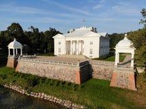Widok z lotu ptaka Uzutrakis rezydencja ziemska w Trakai, Lithuania fotografia royalty free