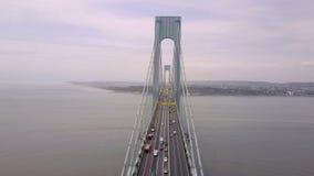Widok z lotu ptaka Verrazano wiadukt w Brooklyn i bidge, Miasto Nowy Jork NYC od above hudsonu zbiory wideo