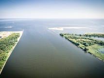 Widok z lotu ptaka Vistula rzeczny usta morze bałtyckie zdjęcia royalty free