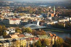 Widok z lotu ptaka Vistula rzeka w historycznym centrum miasta Zdjęcie Stock