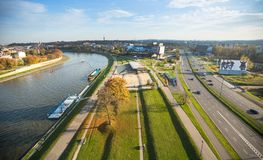 Widok z lotu ptaka Vistula rzeka w historycznym centrum miasta Vistula jest długim rzeką w Polska Obraz Royalty Free