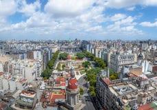 Widok z lotu ptaka W centrum Buenos Aires i plac Congreso, Buenos - Aires, Argentyna obrazy royalty free