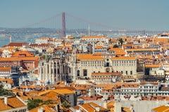 Widok Z Lotu Ptaka W centrum Lisbon linia horyzontu Stary Dziejowy miasta I 25 25th Kwiecień Przerzucający most Abril De most Zdjęcia Royalty Free