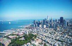 Widok z lotu ptaka W centrum San Fransisco linia horyzontu od helikopteru, C Obraz Stock