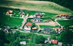 Widok z lotu ptaka w wsi Fotografia Stock