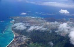 Widok z lotu ptaka Waimanalo, Rockowej wyspy, Hawaje Kai miasteczko, Koko Hea Obraz Royalty Free