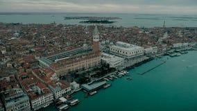 Widok z lotu ptaka Wenecja panoramiczny punkt zwrotny, widok z lotu ptaka, dzwonnica i Ducale, piazza San Marco lub st Mark kwadr zbiory