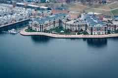Widok z lotu ptaka Wewnętrzny schronienie Federacyjny wzgórze w Baltimore i, obraz stock