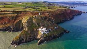 widok z lotu ptaka Wicklow głowy latarnia morska okręg administracyjny Wicklow Irlandia obraz stock