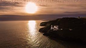widok z lotu ptaka Wicklow głowy latarnia morska okręg administracyjny Wicklow Irlandia zdjęcia royalty free