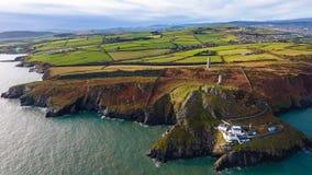 widok z lotu ptaka Wicklow głowy latarnia morska okręg administracyjny Wicklow Irlandia obrazy stock