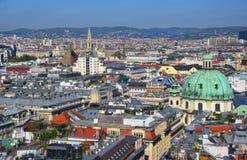 Widok z lotu ptaka Wiedeń centrum miasta od katedry Obrazy Stock