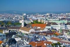 Widok z lotu ptaka Wiedeń centrum miasta od katedry Obraz Royalty Free