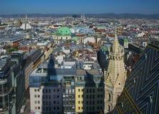 Widok z lotu ptaka Wiedeń centrum miasta od katedry Zdjęcie Stock