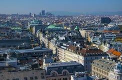 Widok z lotu ptaka Wiedeń centrum miasta od katedry Fotografia Stock