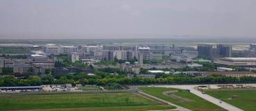 Widok z lotu ptaka wiejska społeczność miejska zdjęcia stock