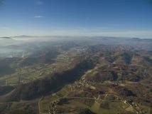 Widok z lotu ptaka wiejski jesień krajobraz Obrazy Stock
