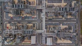 Widok z lotu ptaka wielka rafineria ropy naftowej, rafinerii roślina, rafineria fact Zdjęcie Stock