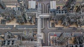 Widok z lotu ptaka wielka rafineria ropy naftowej, rafinerii roślina, rafineria fact Zdjęcia Stock