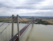 Widok z lotu ptaka wielki zawieszenie most, Francja Zdjęcia Royalty Free