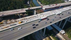 Widok z lotu ptaka wielkiego mosta budowa zdjęcie wideo