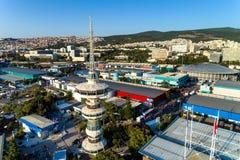 Widok z lotu ptaka wierza OTE i międzynarodowa wystawa Zdjęcia Stock