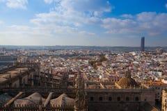 Widok z lotu ptaka z wierzchu Seville katedry, Hiszpania zdjęcie stock