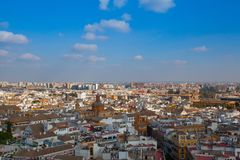 Widok z lotu ptaka z wierzchu Seville katedry, Hiszpania fotografia stock
