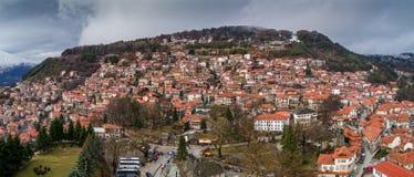 Widok z lotu ptaka wioska Metsovo w Epirus, północny Grecja Zdjęcia Royalty Free