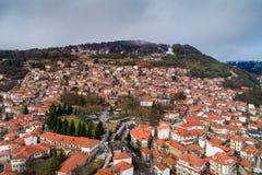 Widok z lotu ptaka wioska Metsovo w Epirus, północny Grecja Fotografia Stock