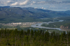 Widok z lotu ptaka wioska Ust-Nera Zdjęcia Stock