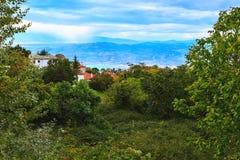 Widok z lotu ptaka wioska w Pelion, Grecja Obrazy Stock