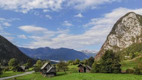 Widok z lotu ptaka wioski Srednja Vas blisko Bohinj jeziora w Slovenia obrazy stock