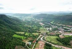 Widok z lotu ptaka wioski w porze deszczowa Obrazy Royalty Free