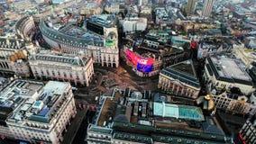 Widok Z Lotu Ptaka wizerunek Ikonowy punktu zwrotnego Piccadilly cyrk w Londyńskim centrum miasta Obraz Stock