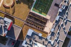 Widok z lotu ptaka Wrocławscy miast przedmieścia Obraz Royalty Free