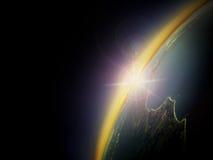 Widok z lotu ptaka wschód słońca nad Australia Zdjęcia Royalty Free