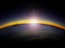 Widok z lotu ptaka wschód słońca nad kraj stroną Fotografia Stock