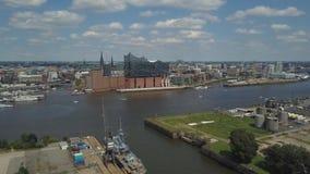 Widok z lotu ptaka wschodnie części Hamburski port zdjęcie wideo