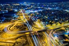 Widok z lotu ptaka wysoka prędkości droga w Ateny miasto zdjęcia stock