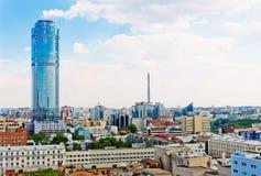 Widok z lotu ptaka Yekaterinburg na Czerwu 26, 2013 Zdjęcie Royalty Free