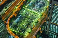 Widok z lotu ptaka Yokohama przy nocą Fotografia Stock