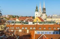 Widok z lotu ptaka Zagreb dachy Obrazy Royalty Free