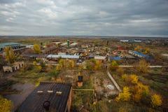 Widok z lotu ptaka zaniechana teren przemysłowy strefa od above, betonowi budynki, przemysł i rolniczy okręg, Obraz Stock