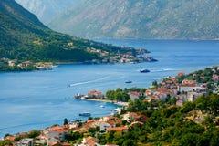 Widok z lotu ptaka zatoka Kotor, Montenegro Obraz Royalty Free