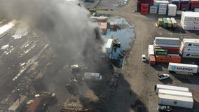 Widok Z Lotu Ptaka zbiornika ogienia Filadelfia Morski Śmiertelnie zbiory wideo